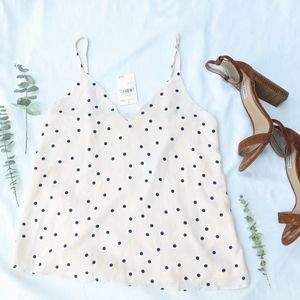 NWT Nordstrom's Pink Polka Dot Scalloped Camisole